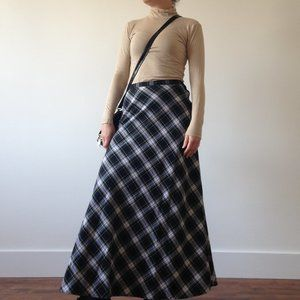 Limité - Black & White Plaid Maxi Skirt